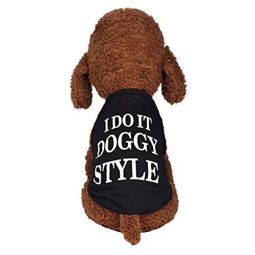 Coversolat Hundekleidung Kleine Hunde Sommer T-Shirt Brief Muster Weste Ärmelloses Shirt Hund Katze Hundeshirt