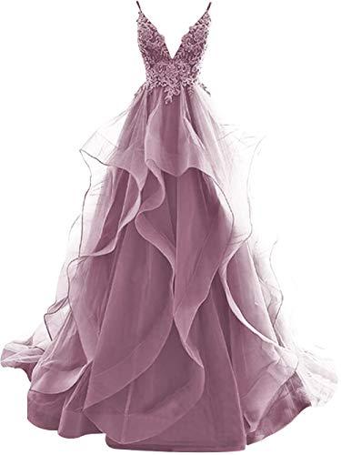 JAEDEN Ballkleider Lang Abendkleider Damen Volants V Ausschnitt Hochzeitskleider Spitze Rückenfrei mit Spaghettiträger Blush EUR50