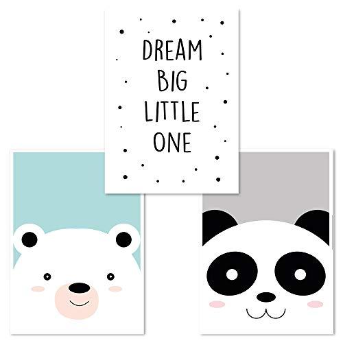 Juego de 3 pósteres para habitación de bebé, DIN 4, para niños y niñas. Oso, Dream Big, oso panda