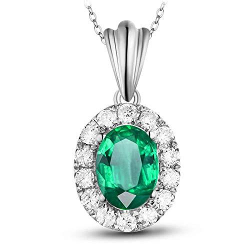 AmDxD 18K White Gold Necklace, 0.85CT Emerald with Diamond Pendant...