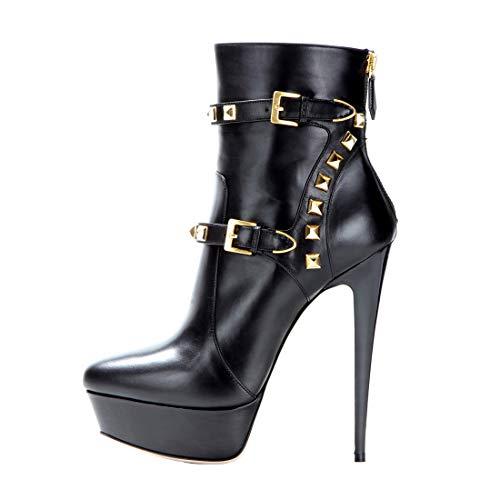 Onlymaker Damen Pumps Stiletto Kurzschaft Stiefel High Heels Boots Schuhe mit Plateau Nieten Schwarz EU45