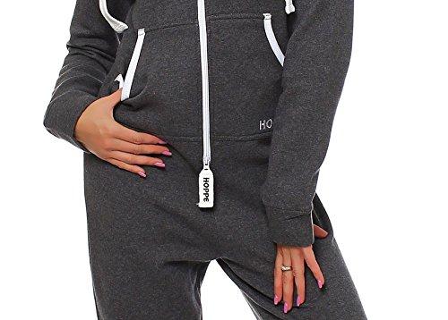 Hoppe Damen Jumpsuit Jogger Einteiler Jogging Anzug Trainingsanzug Overall (Grau) - 5
