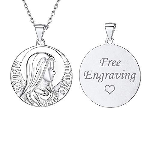 ChicSilver Virgen María Medalla Relieve Esmerilado Collar Elegante para Regalar Plata de Ley 925 Platino DIY