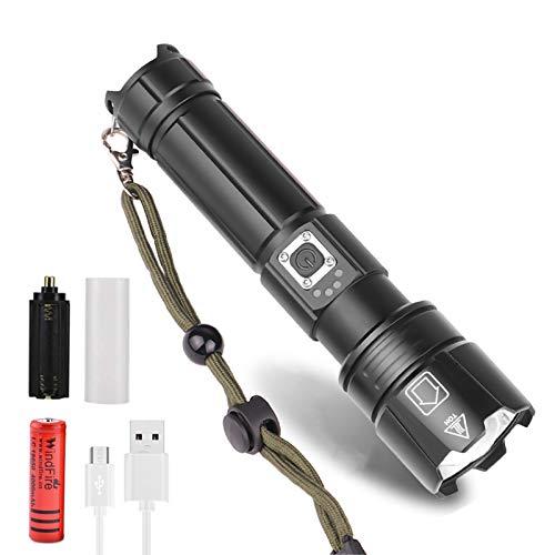 Linterna LED XHP70 Alta Potencia USB Recargable, Super Brillante 6000 Lúmene Táctica Antorcha de Mano, Impermeable, Zoom 5 Modos con Indicador de Alimentación y Batería para Camping, Senderismo
