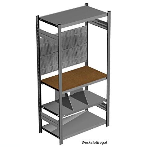 Werkstattregal mit Arbeitsplatte und Lochwand, H = 2000 x B = 1060 c T = 635 mm
