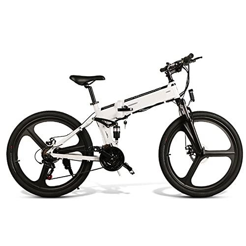 FBKPHSS 26' Bicicleta eléctrica, Plegable Bicicleta Electrica con Batería de Litio Extraíble 48V 500W Bicicleta Eléctrica de Montaña para Ciclismo al Aire Libre,Blanco,Standard 1