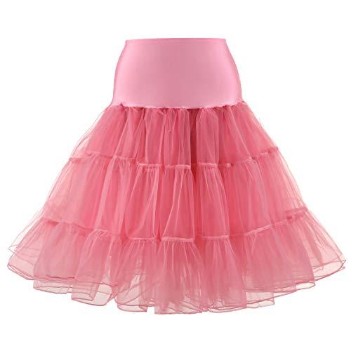 Yiwa Petticoat Onderrok Retro Vintage Swing Grenadine Jurk voor Dagelijks Feest Het dragen van Watermeloen rood, XXL