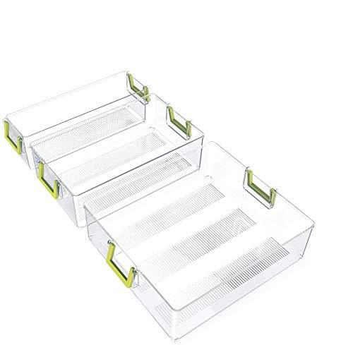 Caja de almacenamiento para nevera, contenedores de nevera y congelador, contenedores de almacenamiento de alimentos comestibles, sin BPA, organizadores para nevera, congelador y despensa