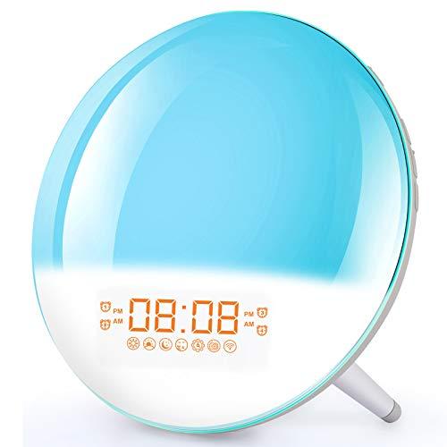 Smart Wake Up Light Alarm Clock - Sunrise Alarm Clock Bedside Night Light Supports WiFi, Sunrise/Sunset Simulation, 4 Alarms, Snooze Function, 7 Colors, 7 Natural Sound & FM Radio