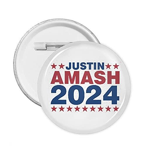 Justin Amash 2024 - Broche redondo con botones redondos para decoración de bolsas de tela, pin de solapa