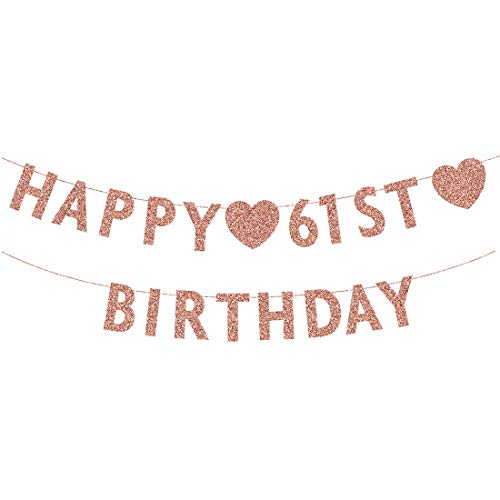 Rose Gold 61st Birthday Banner, Glitter Happy 61 Years Old Woman or Man Party Decorations, Supplies