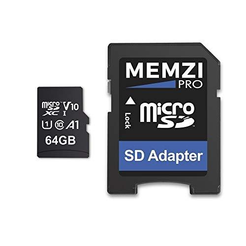 MEMZI PRO - Tarjeta de memoria microSDXC (64 GB, 100 MB/s, clase 10, A1, V10, Micro SDXC con adaptador SD, compatible con cámaras de acción Apeman Trawo A100, A87, A80, A79, A77