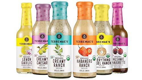 Tessemae's Organic Dressings Lovers Variety Pack, Whole30 Certified, Keto Friendly, USDA Organic 10 oz. bottles (6-Pack)