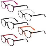 Kerecsen 5 Pairs Retro Round Frame Reading Glasses Spring Hinge Large Readers (5 Pack Mix Color, 1.50), Medium