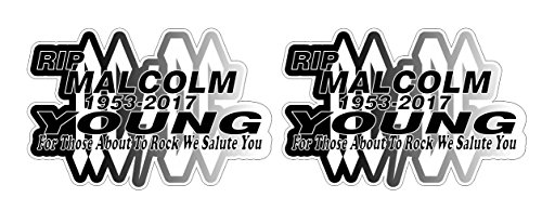 Malcolm Young Tribute RIP 1953-2017 Aufkleber Sticker + Gratis Schlüsselringanhänger aus Kokosnuss-Schale + Auto Motorrad Laptop Music AC DC Musik Rock For Those About To Rock we Salute You Angus