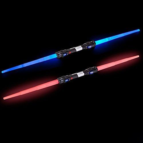 GOODS+GADGETS Doppelklingen Laserschwert Lichtschwert Laser Sword 138 cm Schwert mit Beleuchtung & Sound (Blau)