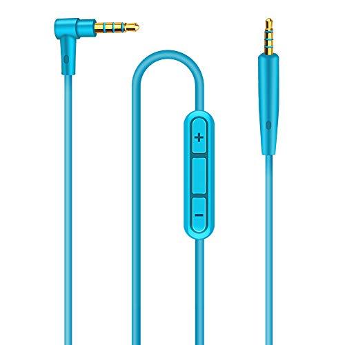 QC25 Kabel QC35 Kabel Ersatz Audiokabel Kompatibel mit Bose QuietComfort 25 QuietComfort 35 SoundLink/SoundTrue Kopfhörer, Ersatzkabel für Kopfhörer, mit Mikrofon und Fernbedienung (Blau)