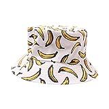 Yue668 - Rosarios de Pescador, Sombreros de Exterior con Estampado plátano, Sombreros de Viaje (se Pueden Llevar por Ambos Lados), poliéster, Blanco, 55-59cm/21.7 * 23.2IN