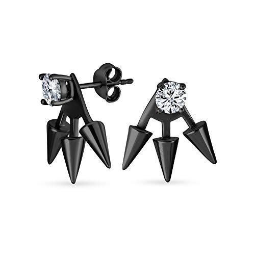 Goth Triple Spike punto flecha cúbica Zirconia chaqueta pendientes para mujeres negro plateado 925 plata de ley