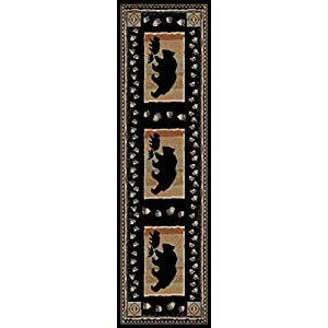 Rug Empire Take the Lead Rustic Lodge Area Rug, Black Bear, 2'2″ W X 7'7″ L