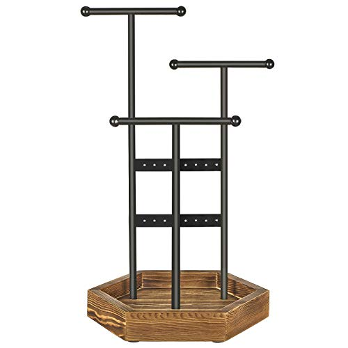 SONGMICS Jewelry Display Stand Holder, Metal and Wood Jewelry Tree, for Necklaces, Bracelets, Earrings, Studs, Rings, Gift Idea, Black UJJS03CB