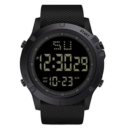 DAKERTA Herren Digitale Armbanduhr, Outdoor Laufen Wasserdichte militärische Uhren, Cool Sport große Anzeige LED Sportuhr mit Wecker für Herren (Schwarz)