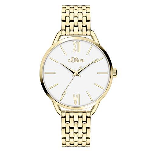s.Oliver Damen Analog Quarz Armbanduhr mit Edelstahl SO-4189-MQ