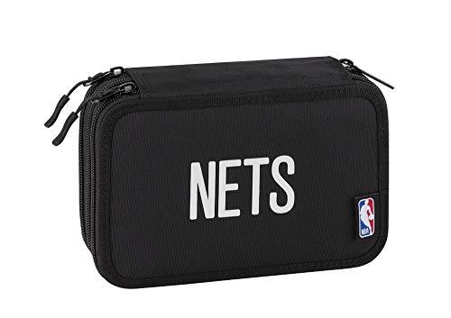 ASTUCCIO SCUOLA NBA Brooklyn New York 3 PIANI ZIP COMPLETO + omaggio penna glitterata + omaggio segnalibro