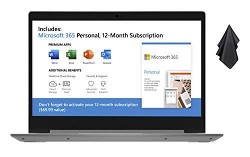 2021 Newest Lenovo IdeaPad 1 14″ Laptop, 14″ HD Display, AMD Dual-Core A6-9220e Up to 2.4GHz, 4GB RAM, 64GB eMMC, HDMI, Card Reader, Wi-Fi, Bluetooth, Windows 10 S, 1 Year Office 365 + Oydisen Cloth
