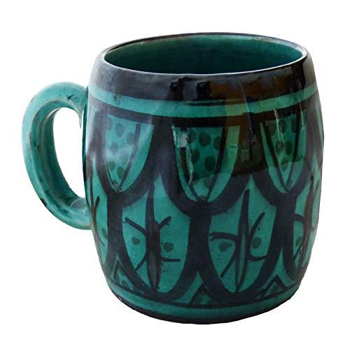 Simandra Becher Keramik Tasse marokkanische Bemalung Accessoires handbemalter Deko groß Color Blau