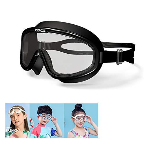 Kinderschnorchel-Set, Schnorchel mit trockener Spitze und Schwimmmaske, Anti-Leck-Schnorchel-Paket mit Anti-Fog-Taucherbrille aus gehärtetem Glas für Kinder, Jungen, Mädchen, Jugendliche,Schwarz