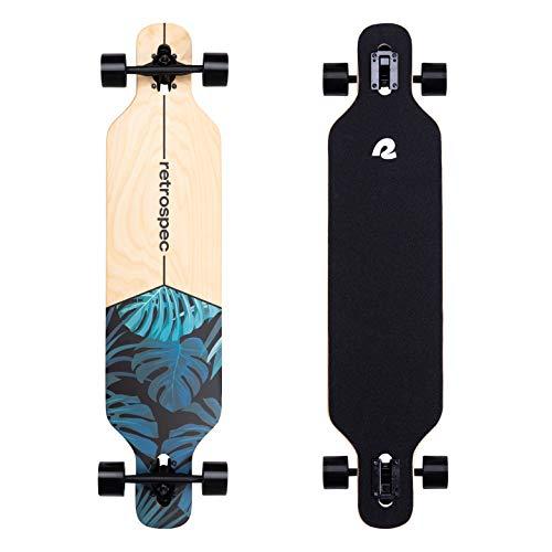 Retrospec Rift Drop-Through Longboard Skateboard Complete | Canadian Maple Wood Cruiser w/ Drop-Through Trucks for Commuting, Cruising, Carving &...