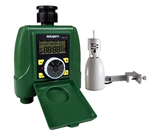 Instapark PWT-7D Dual Outlet Hose Water Timer Sprinkler Timer Automatic Valve with Rain Sensor Included