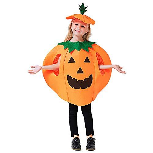 kungfu Mall - Disfraz de Calabaza para Halloween con Sombrero para niños y Adultos, Naranja, Small