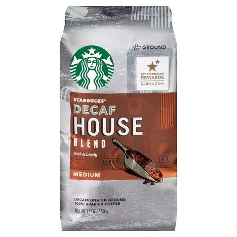 Starbucks Decaf House Blend Ground Coffee, 12 oz(Pack of 4)