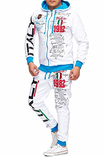 Herren Jogging-Anzug Italien 2079 Design, Trainings-Hose-Jacke-Anzug aus 100% Baumwolle, mit Kapuze und Rippstrickbündchen, von S bis 3XL, Weiß Italy, XL