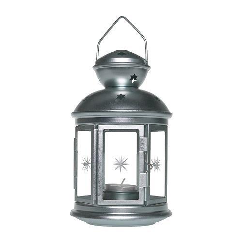 Ikea ROTERA - Farol para velas de té, galvanizado - 21 cm