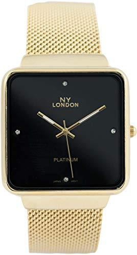 Men's NY London Designer Style Mesh Band Fashion Watch 36mm (Gold/Black)