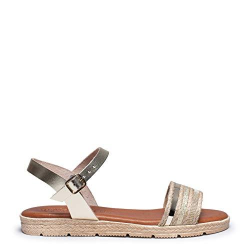 Zapatos miMaO. Zapatos de Piel de Mujer Hechos EN ESPAÑA. Sandalia Plana Hebilla Cómoda. Sandalia Plana Plantilla Acolchada Ultra Confort Gel
