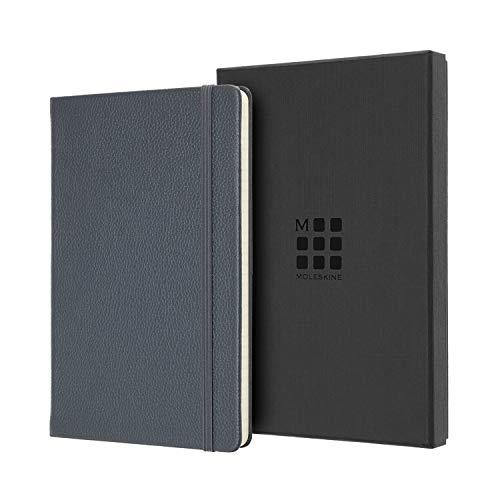 Moleskine Edizione Box in Pelle Notebook Classic Pagina a Righe - Taccuino Copertina Rigida in Pelle e Chiusura ad Elastico, Colore Avio, Dimensione Large 13 x 21 cm, 176 Pagine