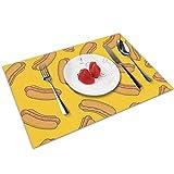 QCFW Manteles Individuales Perros Calientes Mantel Individual Antideslizante Resistente Al Calor Salvamanteles Juego de 4 para La Mesa de Comedor de Cocina