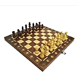 MNBV Juego de ajedrez de Madera magnético Tablero de ajedrez Hecho a Mano Juego de ajedrez de Madera Medieval Plegable para niños y Adultos (24x24cm)