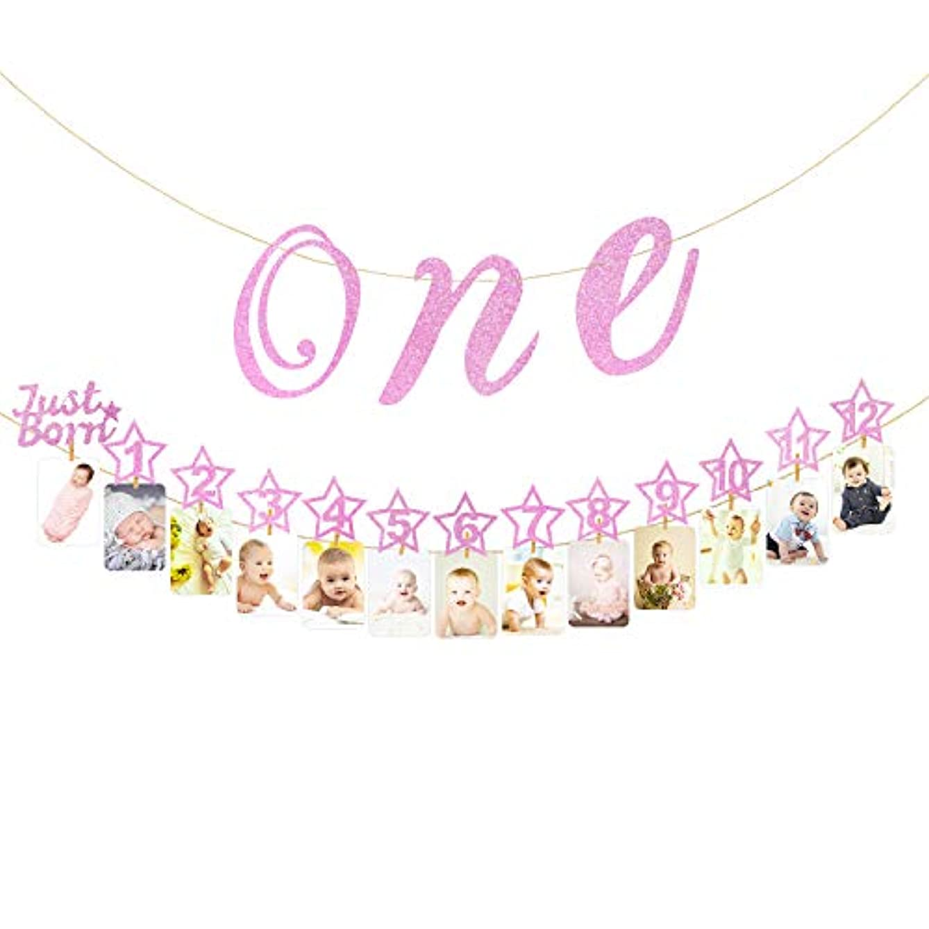 Hifot 1st Birthday Photo Banner with High Chair Glitter Gold ONE Decoration, Monthly Milestone Baby Photo Prop Bunting for Newborn to 12 Months First Birthday Party Supplies Decor Set (Pink)