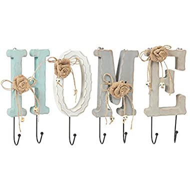 Juvale Home Letter Wooden Wall Hook Rail Set with 6 Pegs - Charming Indoor Iron Hooks for Household Items, Clothing, Keys