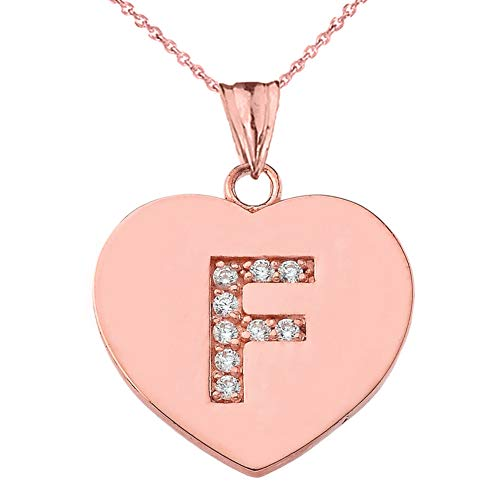 Diamond Initial F Heart Pendant Necklace Necklace in 9 ct Gold Rose Gold (Available Chain Length 16'- 18'- 20'- 22') B