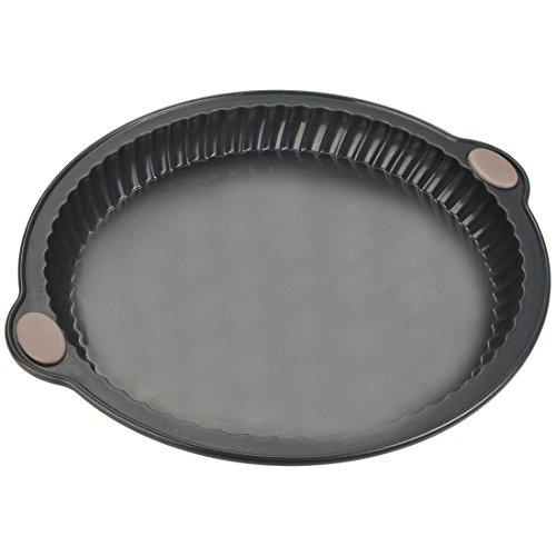 Levivo Moule à tartes/quiche en silicone avec d'excellentes propriétés antiadhésives pour un démoulage facile, moule à pâtisserie/gâteau utilisable sans matière grasse de 26cm de diamètre, gris