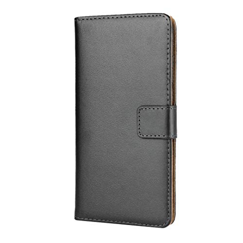 BESTCASESKIN Handyhülle Kompatibel Sony Xperia XA2 Plus Hülle Schutzhülle Premium Echt Leder Flip Lederhülle Case für Sony Xperia XA2 Plus Tasche +Panzerglas Schutzfolie, Schwarz