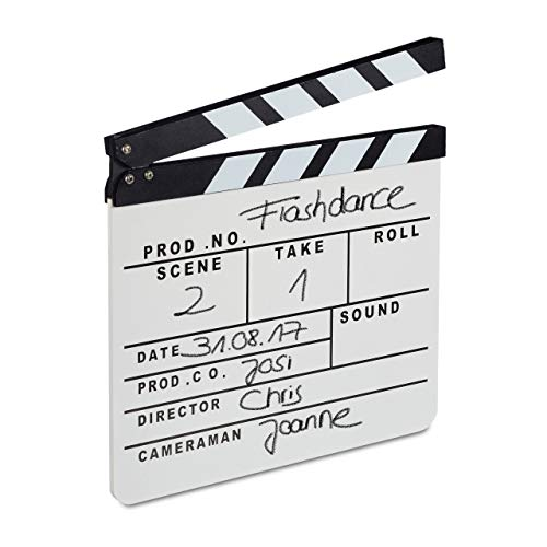 Relaxdays 10021347 Filmklappe Holz, Regieklappe, Clapperboard, Szenenklappe, zum Beschriften, Hollywood Deko, HB 26 x 30 cm, weiß