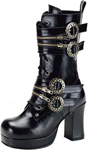 Demonia Gothika-100 - Gothic Steampunk Plateau Stiefel Schuhe 36-43, Größe:EU-40/41/US-10/UK-7