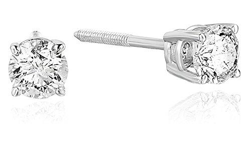 1/3 cttw Certified Diamond Stud Earrings 14K White Gold I1-I2 Screw Back